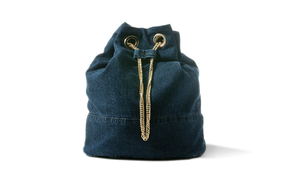 BLUE DARK DENIM BUCKET BAG