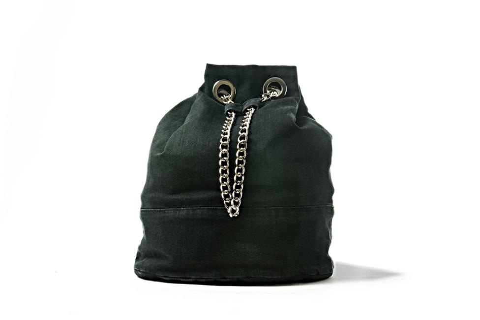 BLACK DENIM BUCKET BAG