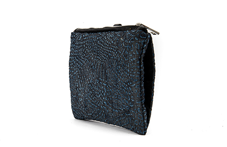 PRINTED DENIM MUFF CLUTCH BAG